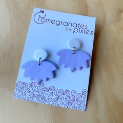 Lotus Earrings in Lilac and White