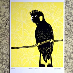 Yellow tailed Black Cockatoo Original Lino Cut Print / Cocky Bird Print