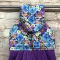 Blue/purple floral Hanging Hand Towel