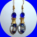 Cobalt blue, silver and gold earrings.