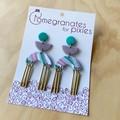 Sevda Statement Earrings with Brass Drops in Pastel Ripples