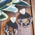Studded Arched Semi Circle, Genuine Leather Earrings, Black/Gold Leopard