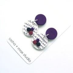 Scribble Grape 2 Polymer clay statement earrings