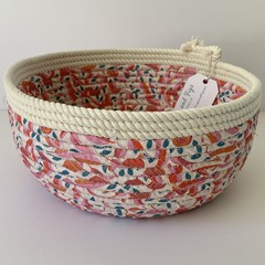 Round Small Rope Basket Jocelyn Proust Gum Nut Fabric in Pinks and Reds