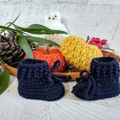 Navy Blue Crochet Baby Booties Shoes Socks Pregnancy Announcement Baby Reveal