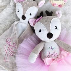 Personalised Jointed Fawn Plushie & Ruggybud - comforter, lovey, keepsake
