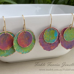Mixed Metal Painted Ladies Copper Disc Earrings