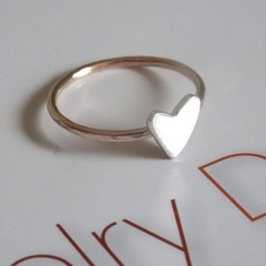 Hand-cut Heart ring-sterling silver and gold-filled