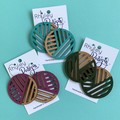 Painted Wood Slat Statement Earrings
