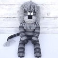 'Leon' the Sock Lion - light & dark grey stripes  - *MADE TO ORDER*