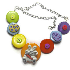 Easter bunny necklace with Easter eggs