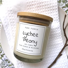 Highly Scented Soy Candle - Lychee Peony | Fruity, Floral Fragrance