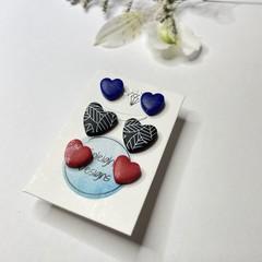 Three Heart Studs Pack