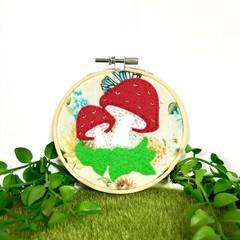 Toadstool Felt Art Embroidery Hoop