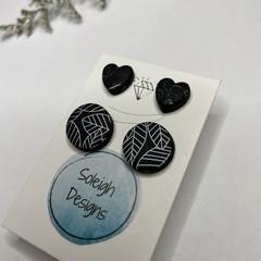 Black Leaf Print Circle and Heart Stud Pack