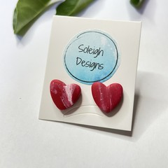 Marbled Heart Studs