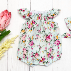Baby Girl Cotton Peasant Style Floral Romper
