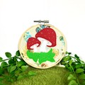 Toadstool Felt Art Embroidery Hoop