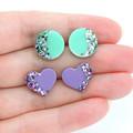 Little shape studs - mint & purple