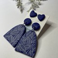 Blue Leaf Print Dangle and Stud Pack