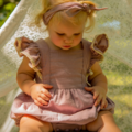Baby Girl Mustard or Dusty Pink Romper With Crochet Flutter Sleeve Lace