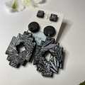 Black Botanical Print Dangle and Stud Pack
