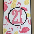 Age  flamingo birthday Handmade Card - Beer 21st 30 40 50 60