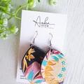 Pinched Petal, Genuine Leather Earrings. Floral Print/Black