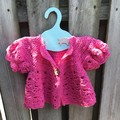 Crochet Toddler Hot Pink Short Sleeve Jacket, 100%Cotton