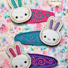 Embroidered Bunny Hair Clips - 3 piece Easter Bunnies