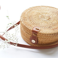 Round Structured Handwoven Straw Rattan Bag (natural or white)