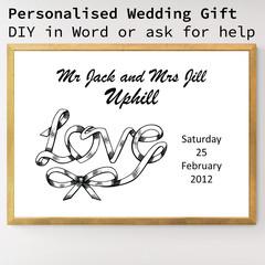 DIY Personalised Printable Download Wedding Gift Poster