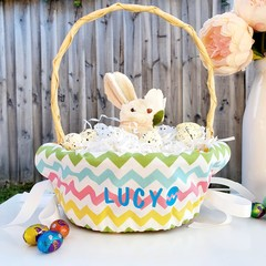 Personalised Easter Basket Liner | Coloured Zigzag