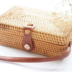 Rectangle Handwoven Straw Rattan Bag (in natural or white)