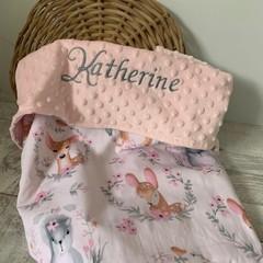 Personalised baby blanket, bunny rug, pram blanket, minkie, fabric choices