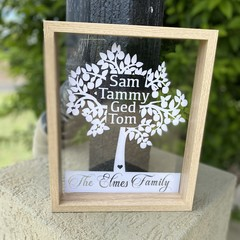 Personalised Names Family Tree cut out Frame, Shadow box