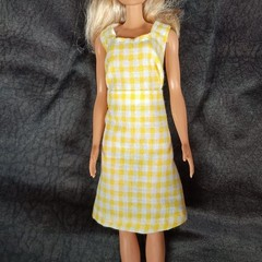 Barbie doll yellow and white checked dress