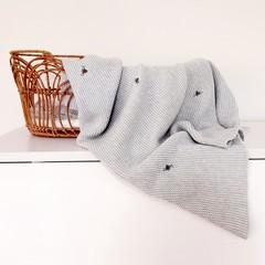 Hand-Embroidered Baby Nursery Blanket Bassinet Cottonknit CotPram Bee BabyShower