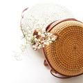 Round Handwoven Straw Rattan Bag (natural or white)