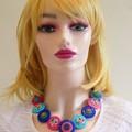 Colourful button necklace - Bubblegum