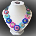 Colourful button necklace - Bubblegum