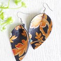 Pinched Petal, Genuine Leather Earrings. Floral Print/Black