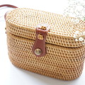 Rectangle Bucket Handwoven Straw Rattan Bag (in natural or white)