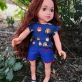 Dolls Clothes  - Shorts and Ruffle top Royal blue/Harry Pott print suit OG, AAG