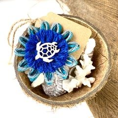 Natural Fibre Flower Embellishment Gift Tag Jute Beach Turtle Decoration Rustic
