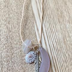 Sky Warrior - Sea glass cotton adjustable necklace