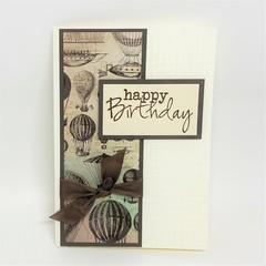 Birthday Card - Vintage Hot air Balloons