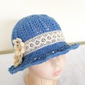 Baby girl blue cotton sun hat with lace hatband