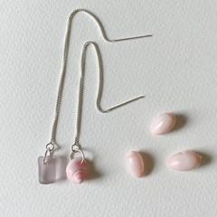 Sea glass and sea shell thread earrings