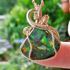7.65ct Australian Andamooka  Opal 14k gold fill wire wrapped